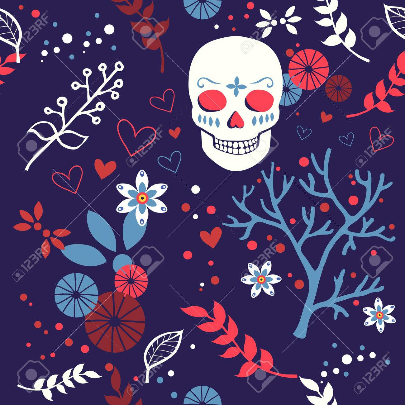 vector pattern with skulls Stock Vector - 21525336