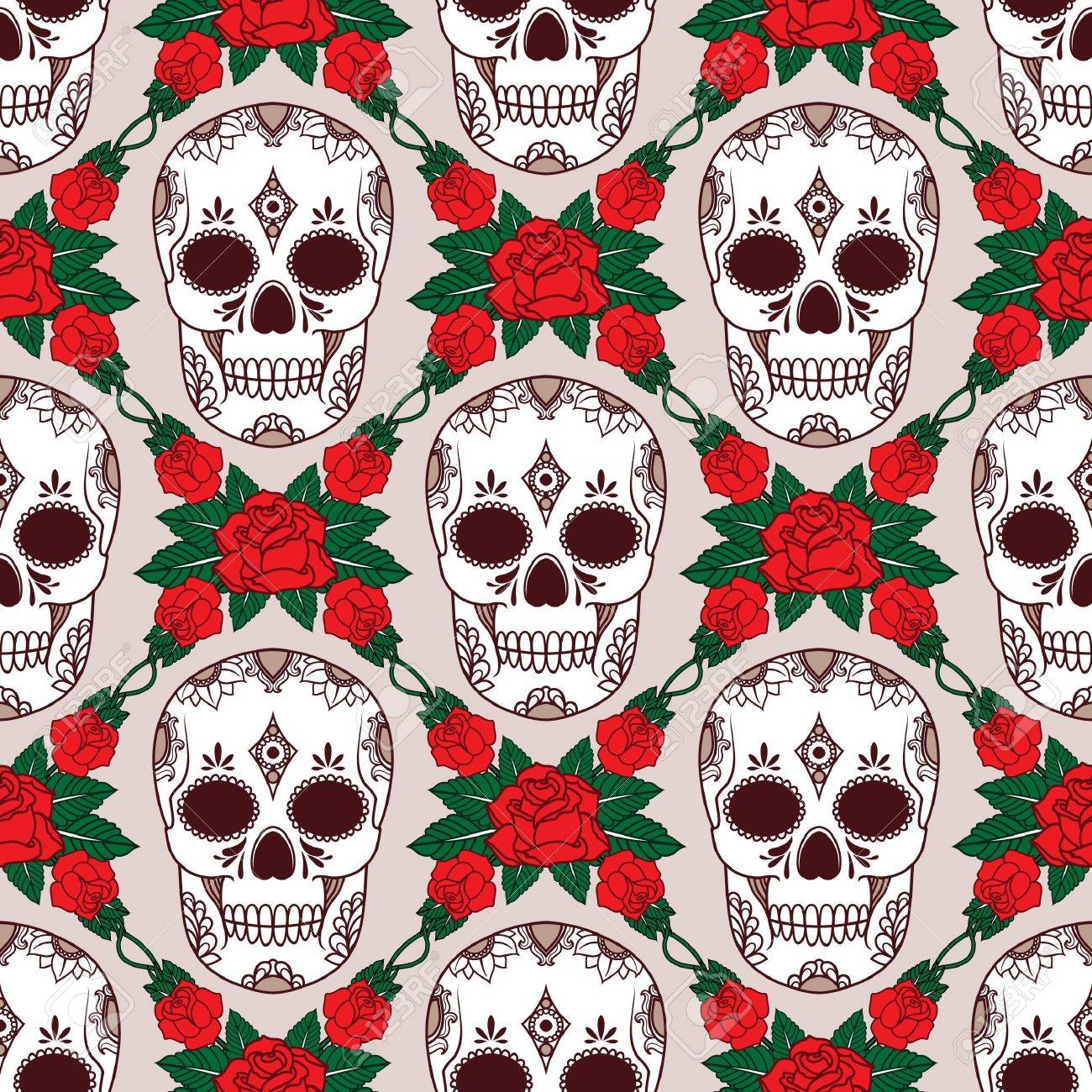 vector pattern with skulls Stock Vector - 21525331