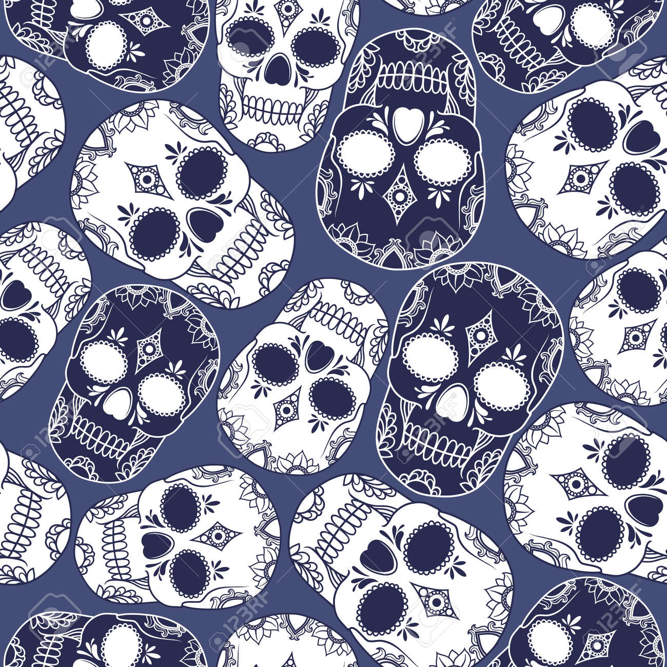 vector pattern with skulls Stock Vector - 21525341
