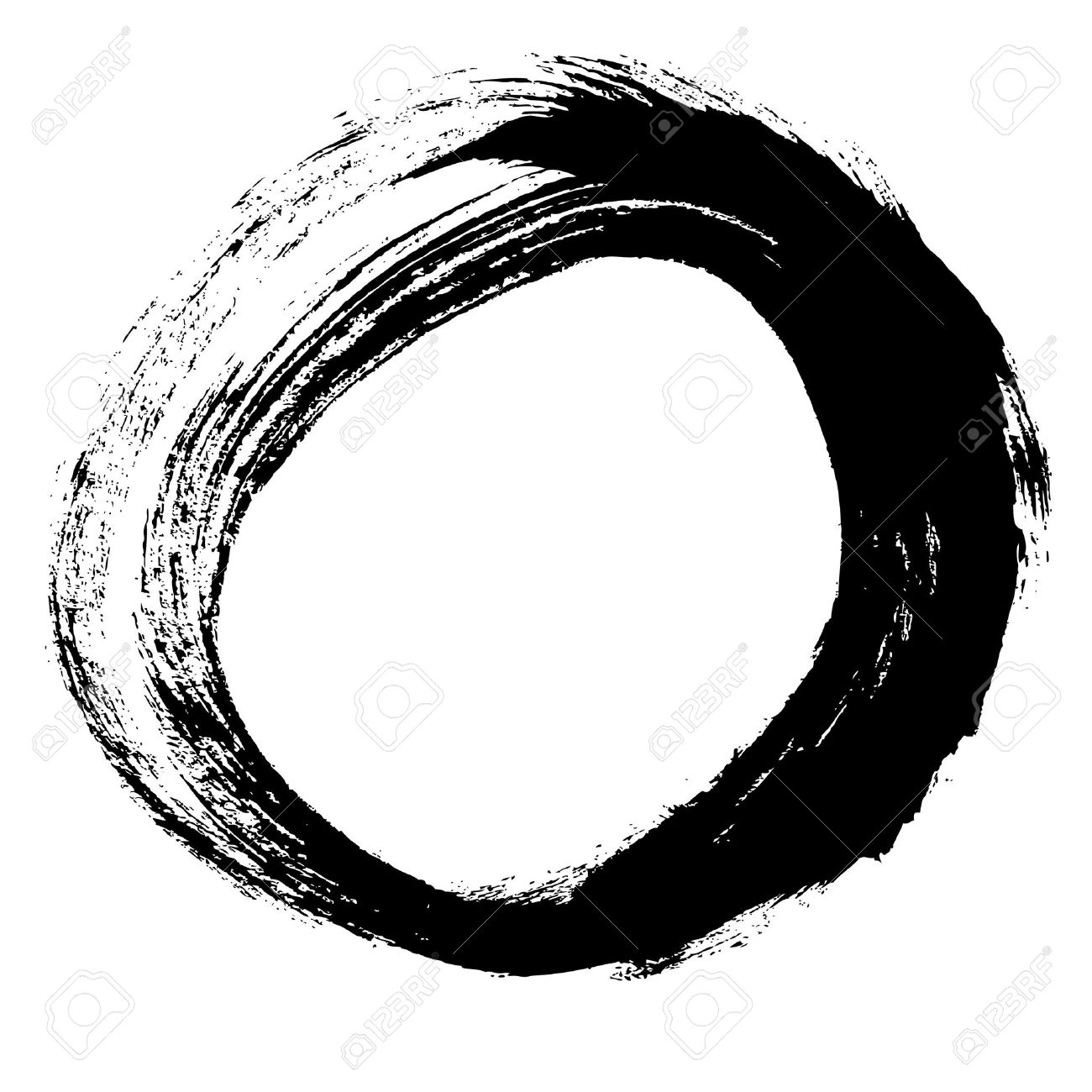 Black Brush Stroke In The Form Of A Circle Drawing Created In ...