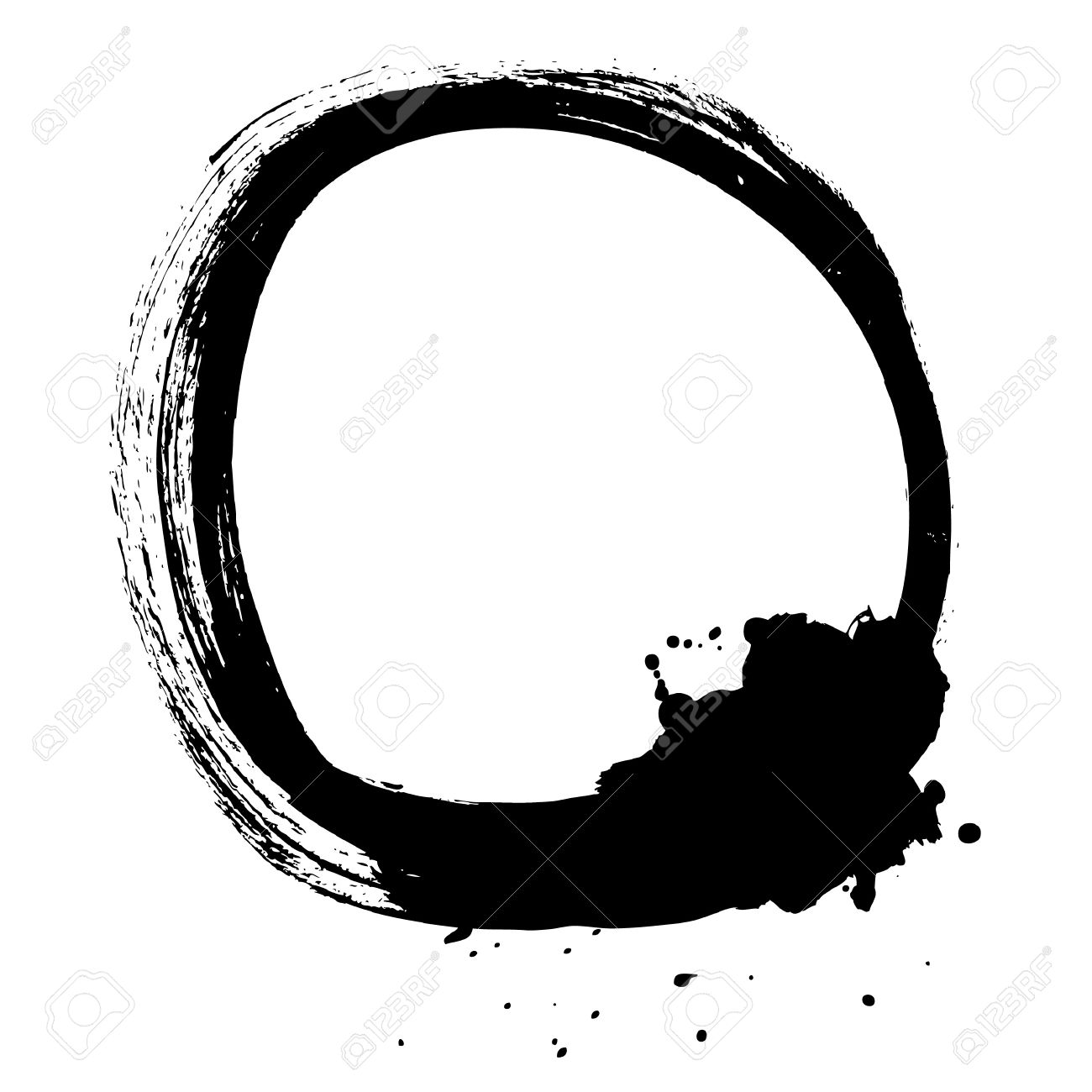 Black brush stroke in the form of a circle Drawing created in ink sketch handmade technique Isolated on white background - 21525421