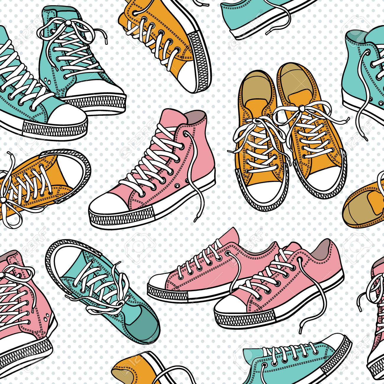 Seamless pattern with sneakers - 23650149