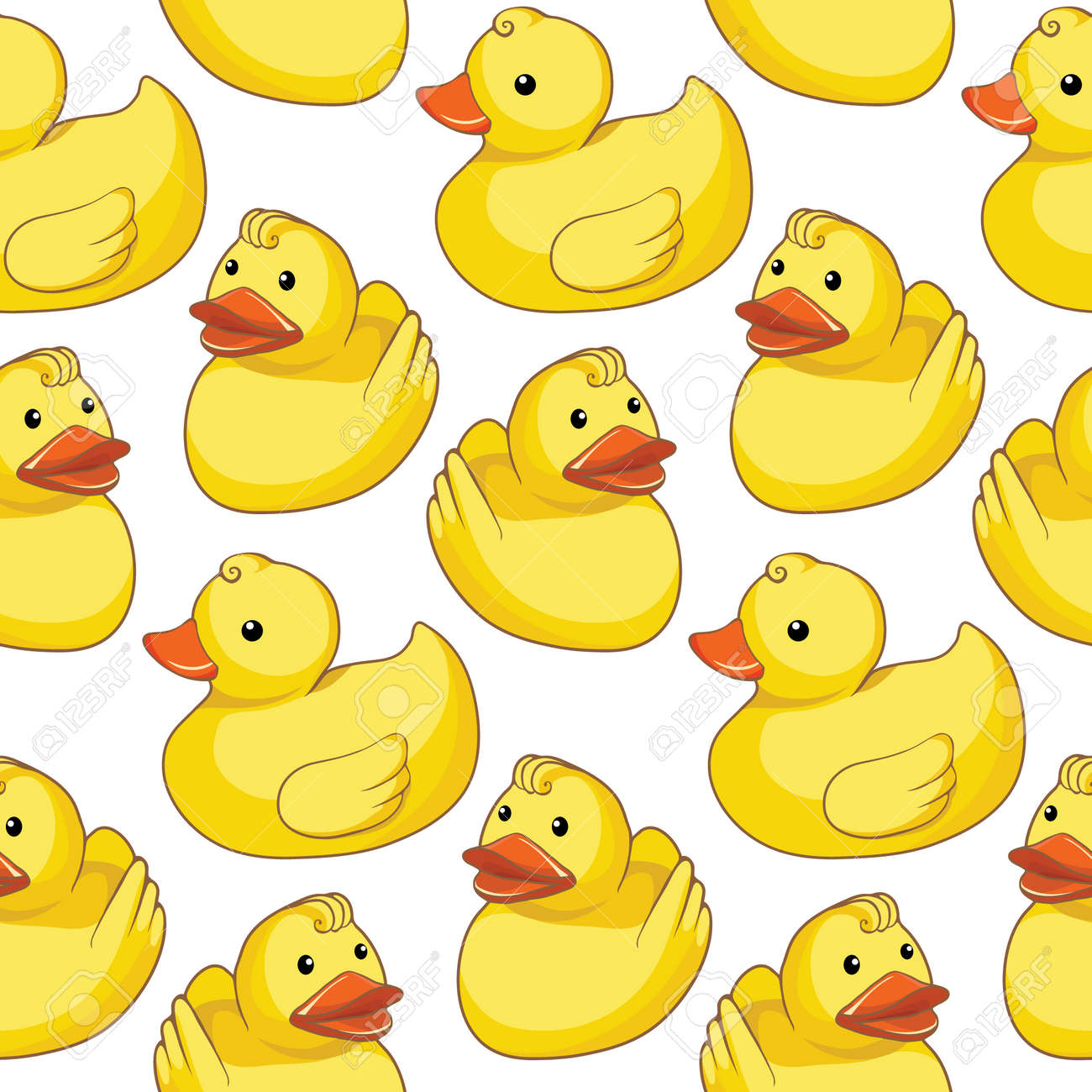 Pattern with yellow ducks - 27378164