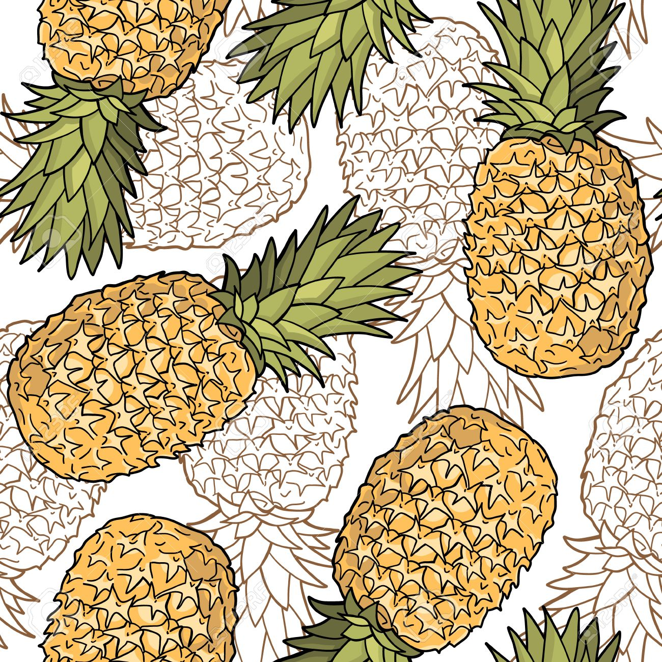 Seamless pattern with pineapples Graphic stylized drawing Vector illustration - 28926732