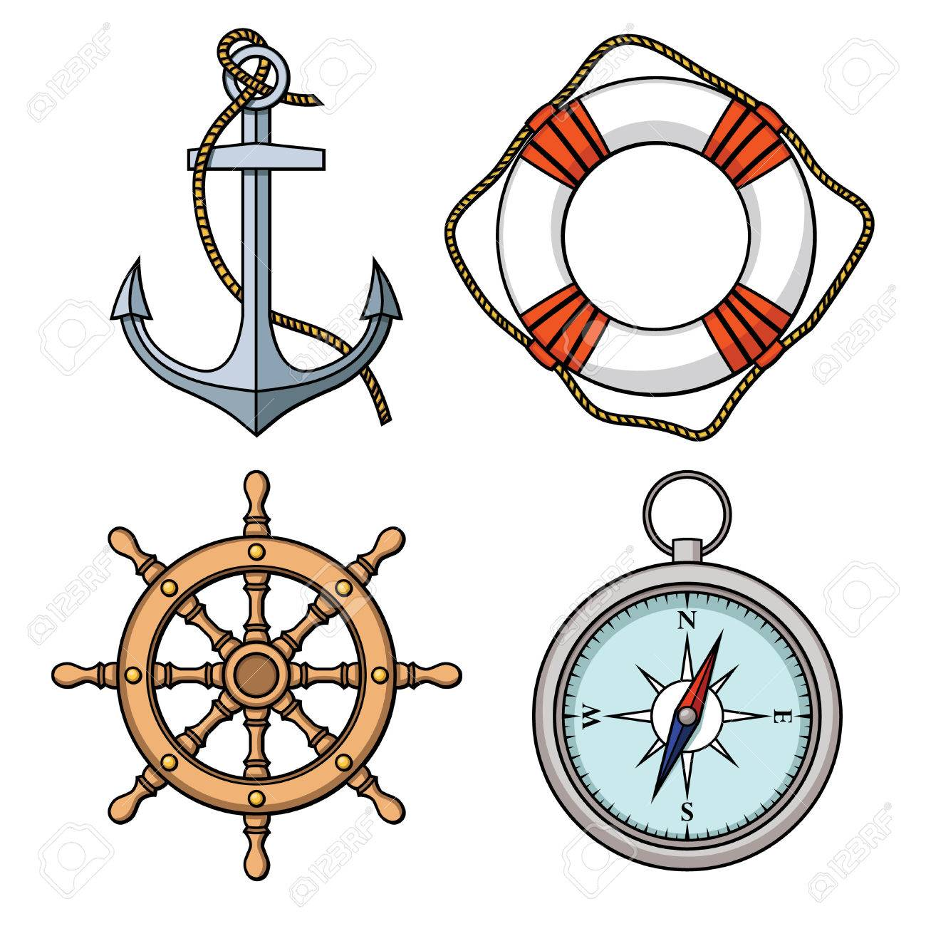 Vector set with isolated anchor, lifebuoy, ship s wheel, compass Black and white - 30536048