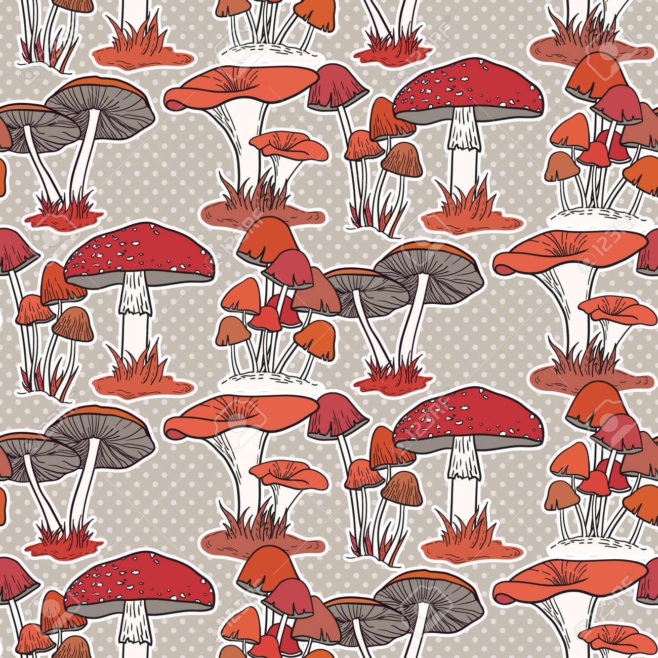 Colorful mushrooms seamless vector pattern - 30536065