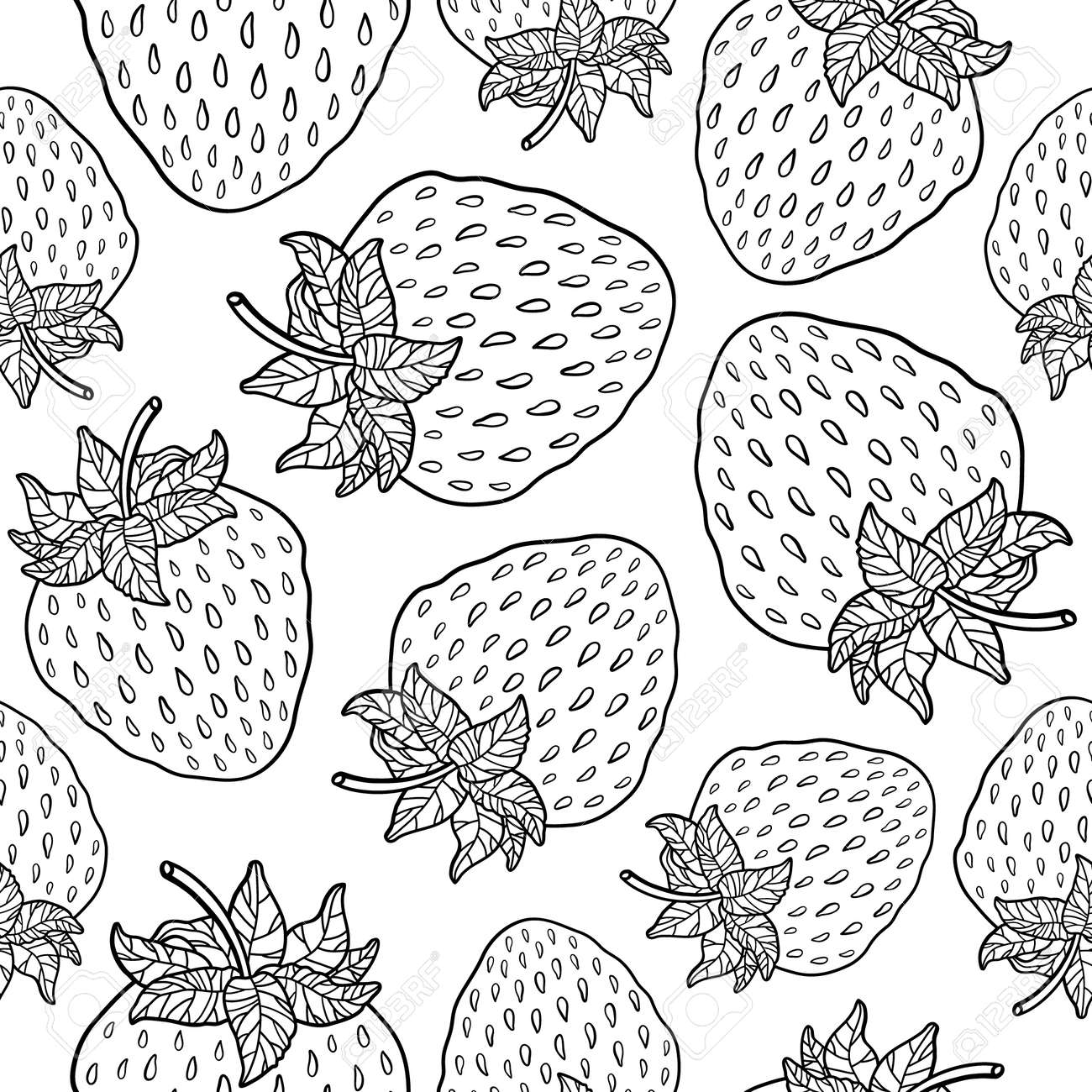 Seamless pattern with strawberries. Graphic stylized drawing. Vector illustration - 31446581