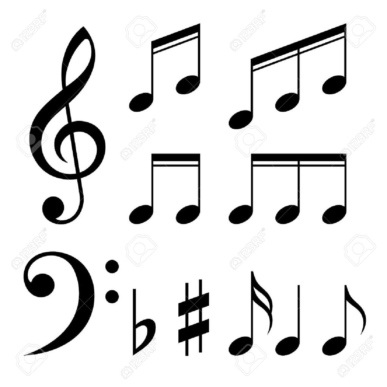 Set of music notes vector. Black and white silhouettes - 31446590