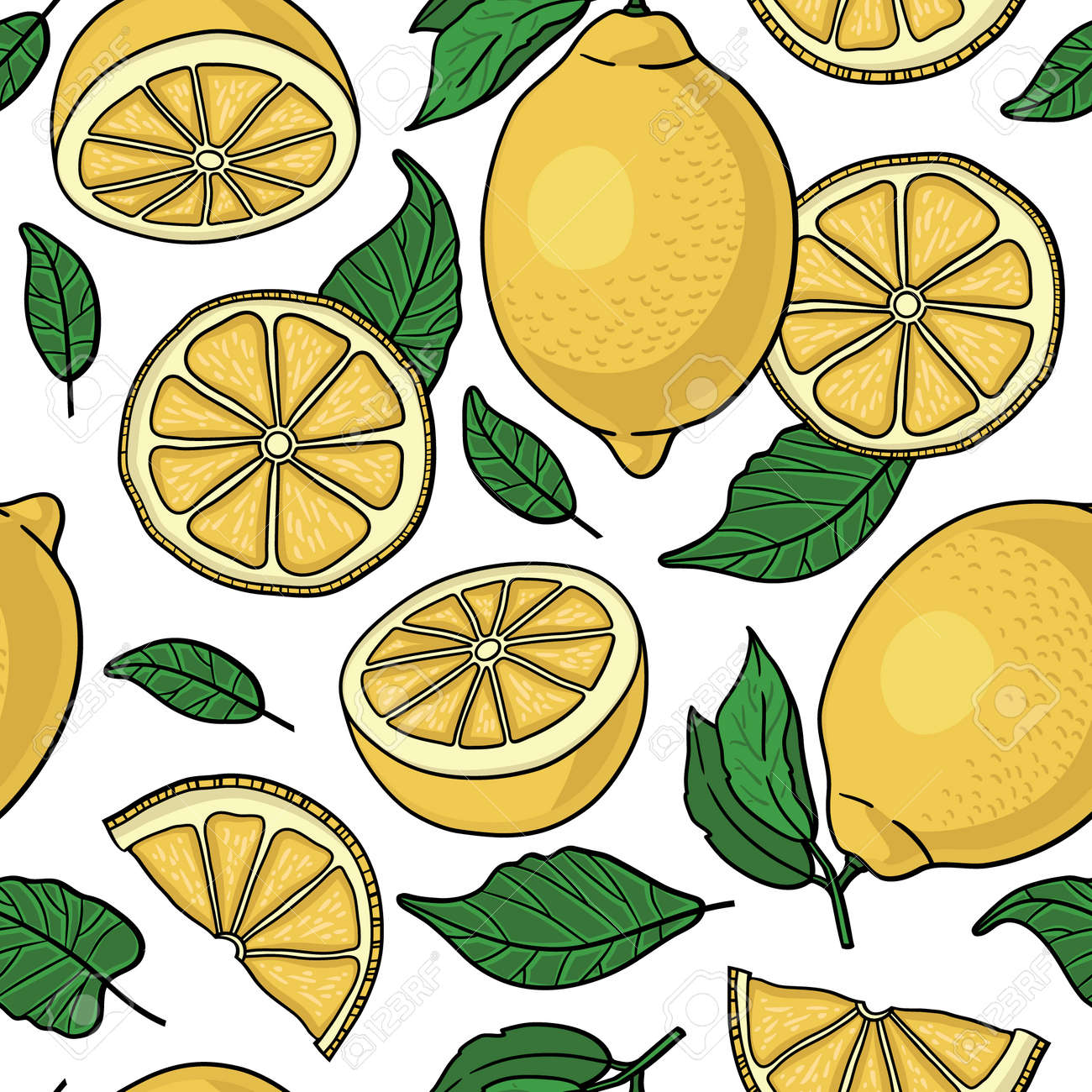 Seamless pattern with yellow lemons - vector illustration - 31614721