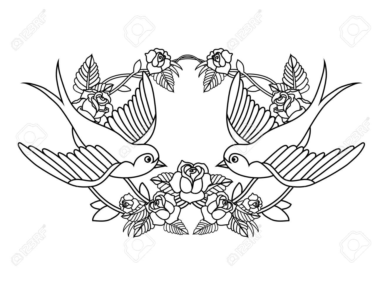 Old school frame with roses and birds - 31646088