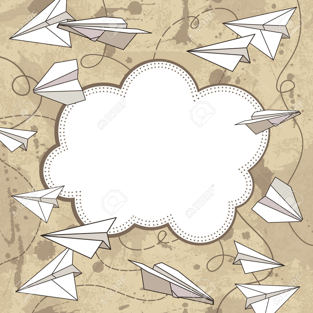 vector frame with paper planes - 32172041