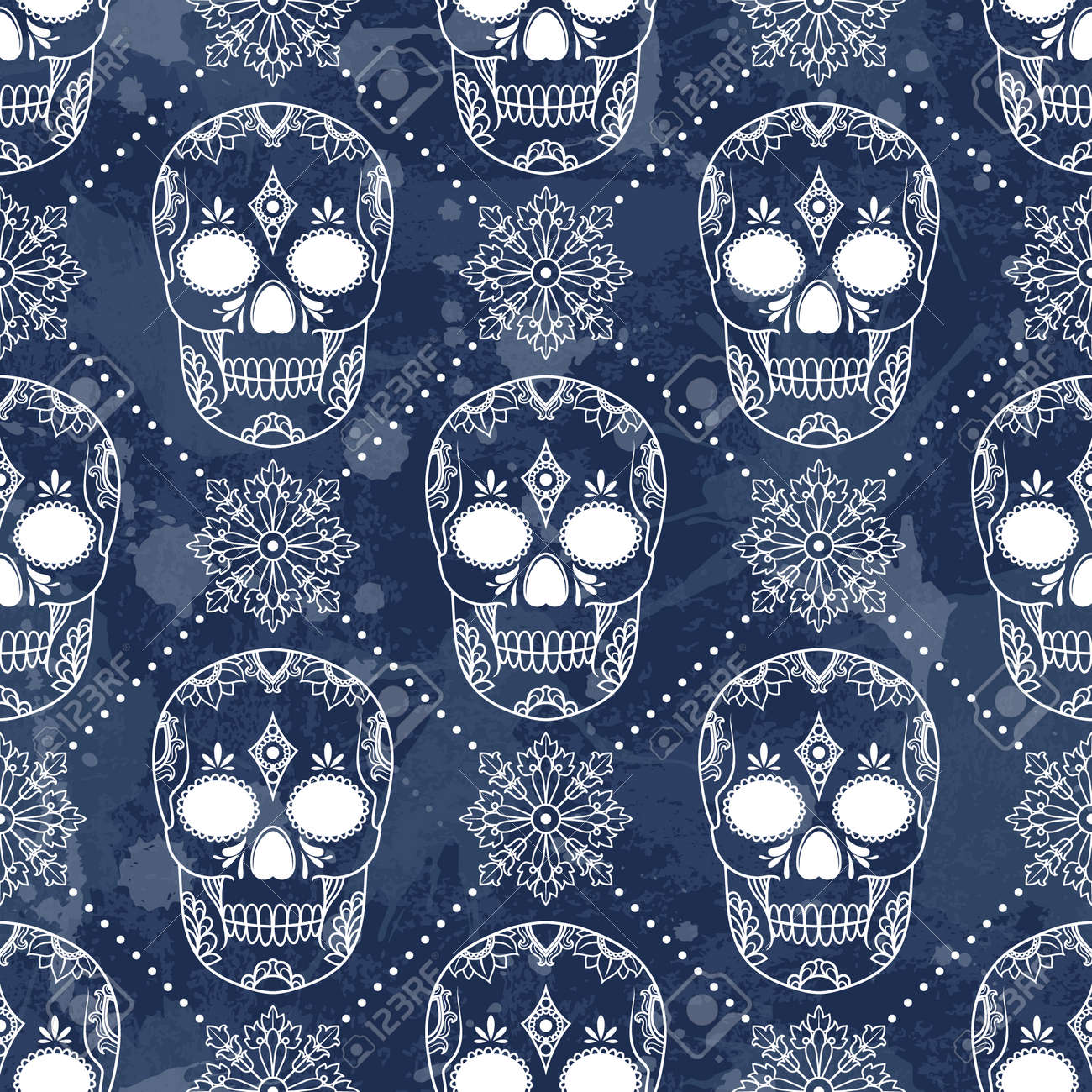 Vector pattern with skulls. Grunge background with drops and splashes - 32184666
