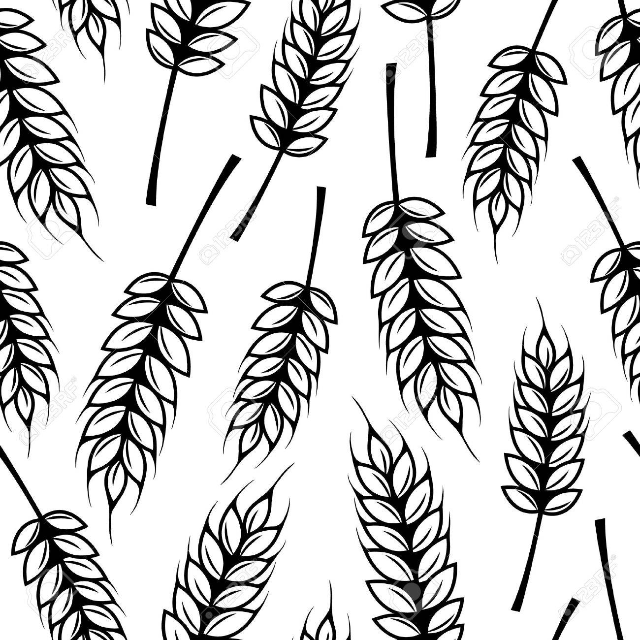 Seamless pattern with ears of wheat - 37074114