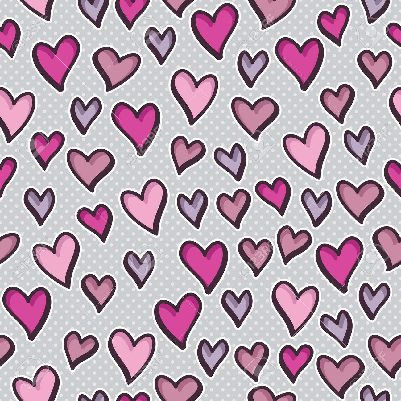 Seamless pattern with valentine hearts - 37266621