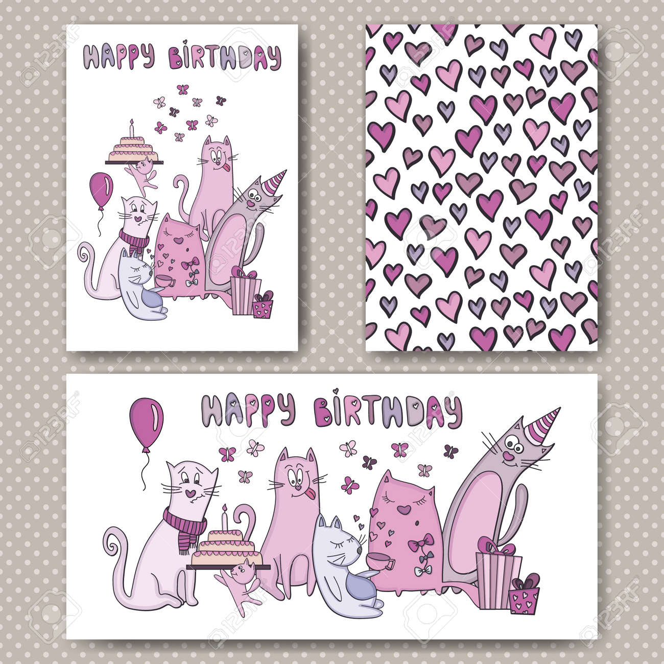 Birthday Cards Design With Funny Cats And Hearts Vector Template For Card Letter