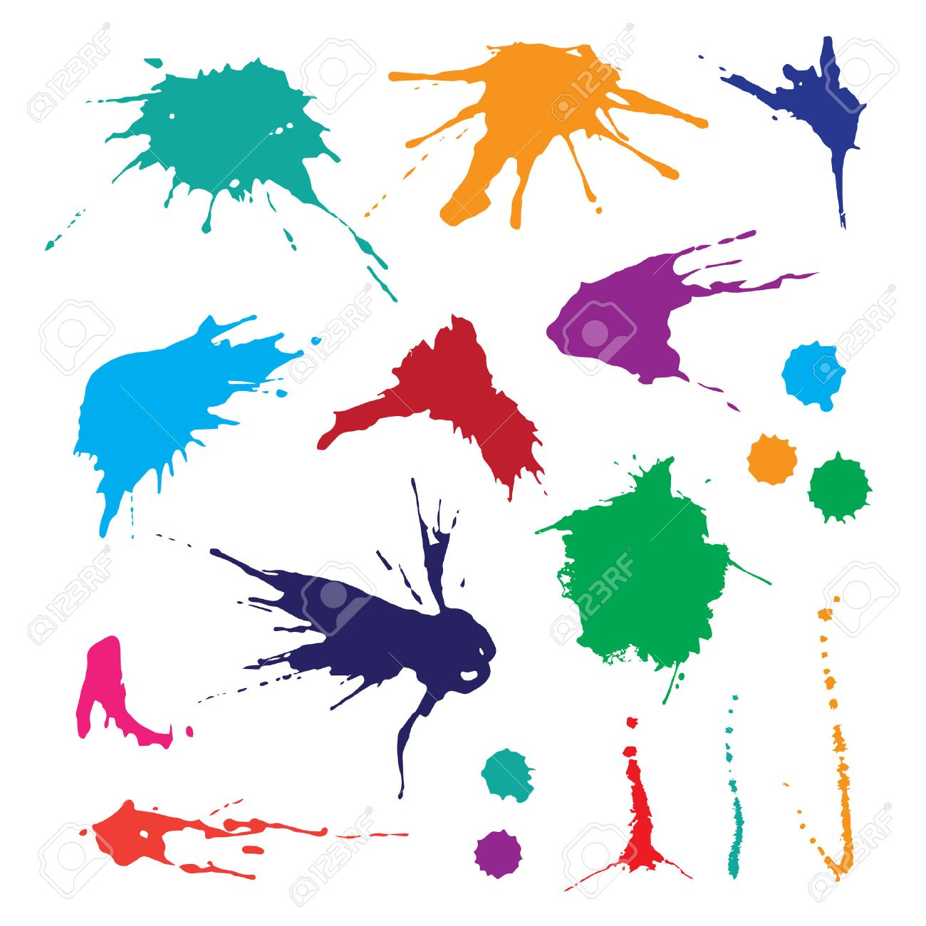 Collection of paint splash. Vector set of brush strokes. Isolated on white background - 44233944