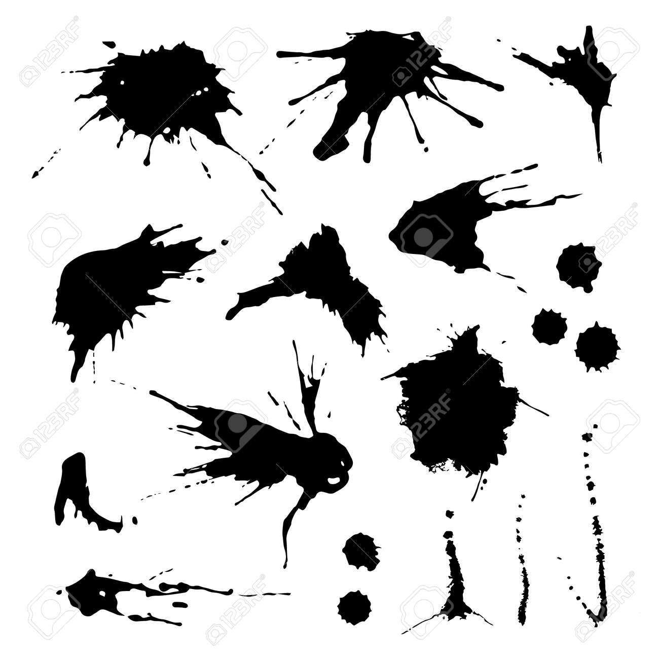 Collection of paint splash. Vector set of brush strokes. Isolated on white background - 44233653
