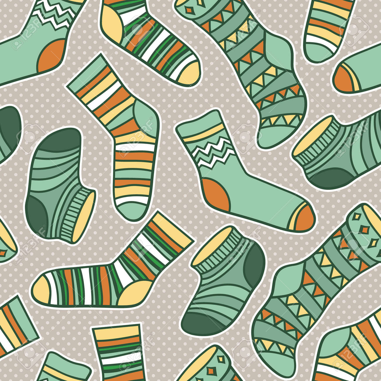 Vector seamless abstract pattern with socks - 45147901