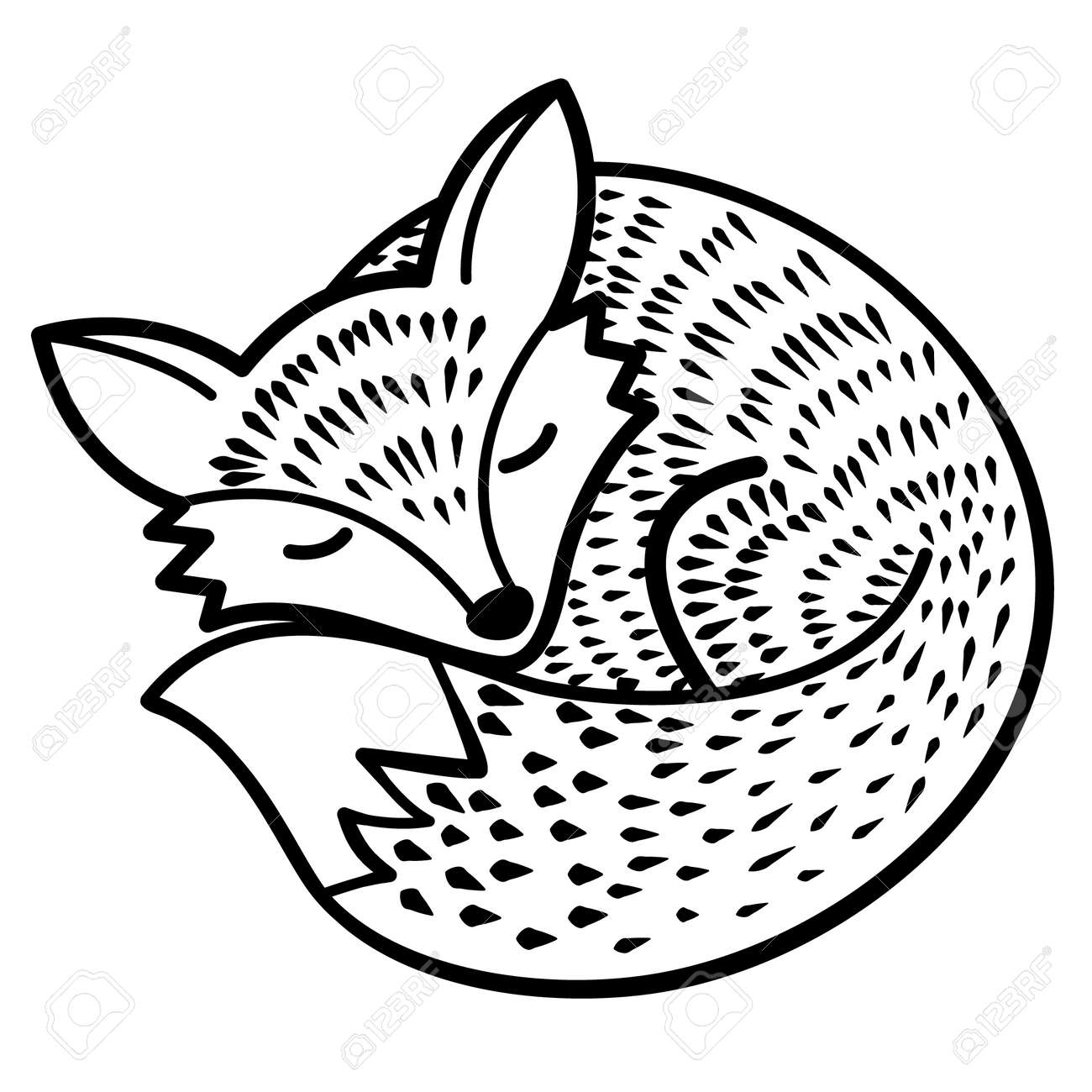 vector isolated fox. black and white - 52058583