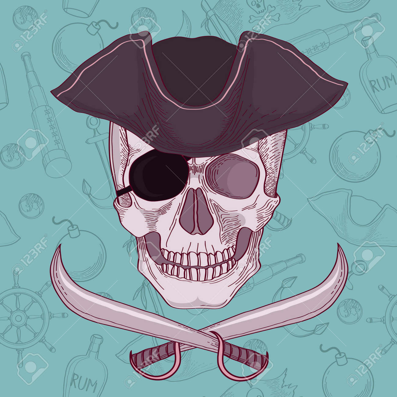 Pirates skull vector illustration Stock Vector - 20708583