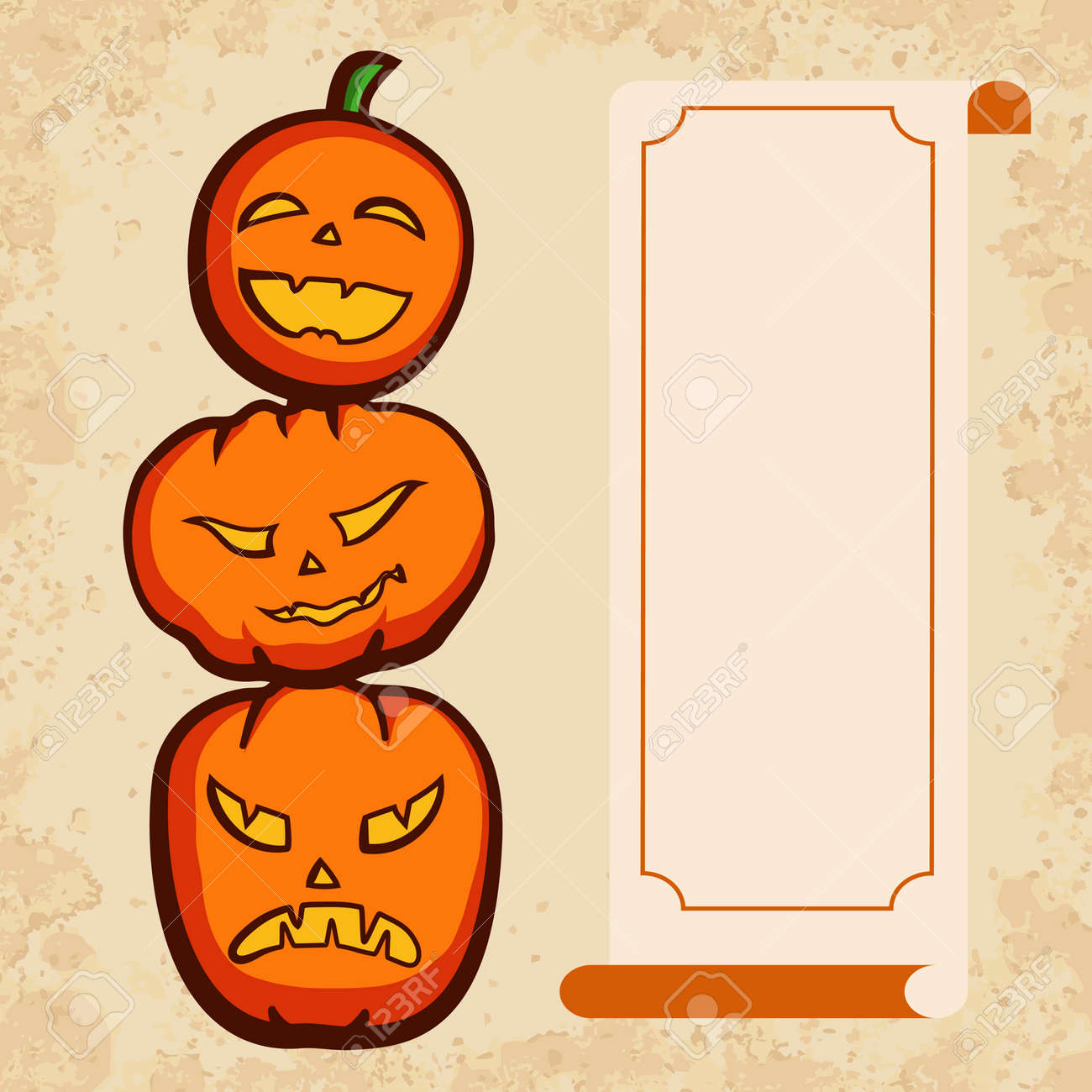Halloween Party Invitation With Funny Pumpkins Royalty Free Cliparts ...