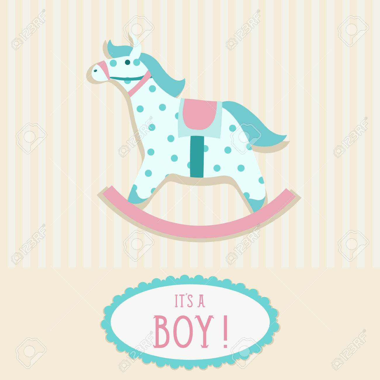 Baby Shower Invitation Card Template With Rocking Horse Royalty Free ...