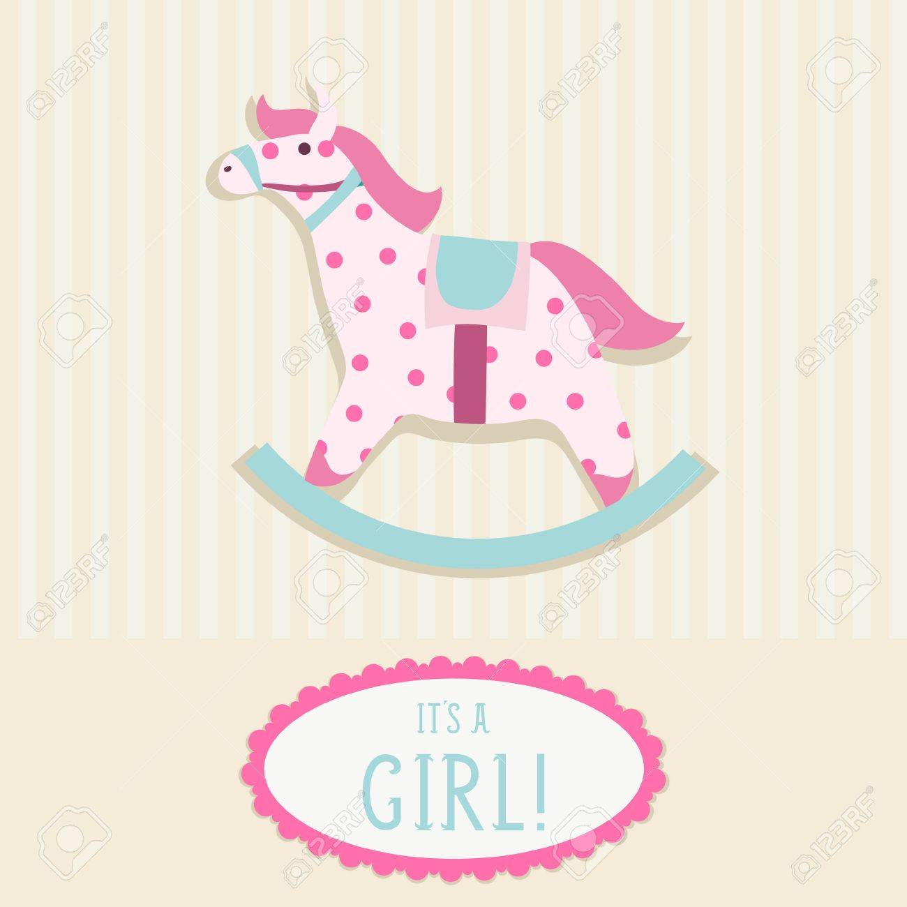 Baby Shower Invitation Card Template With Rocking Horse Royalty ...