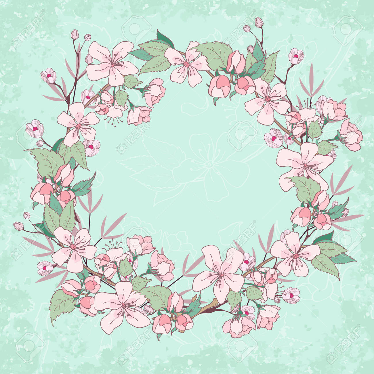 Apple Blossom Wreath Beautiful Spring Floral Background Royalty
