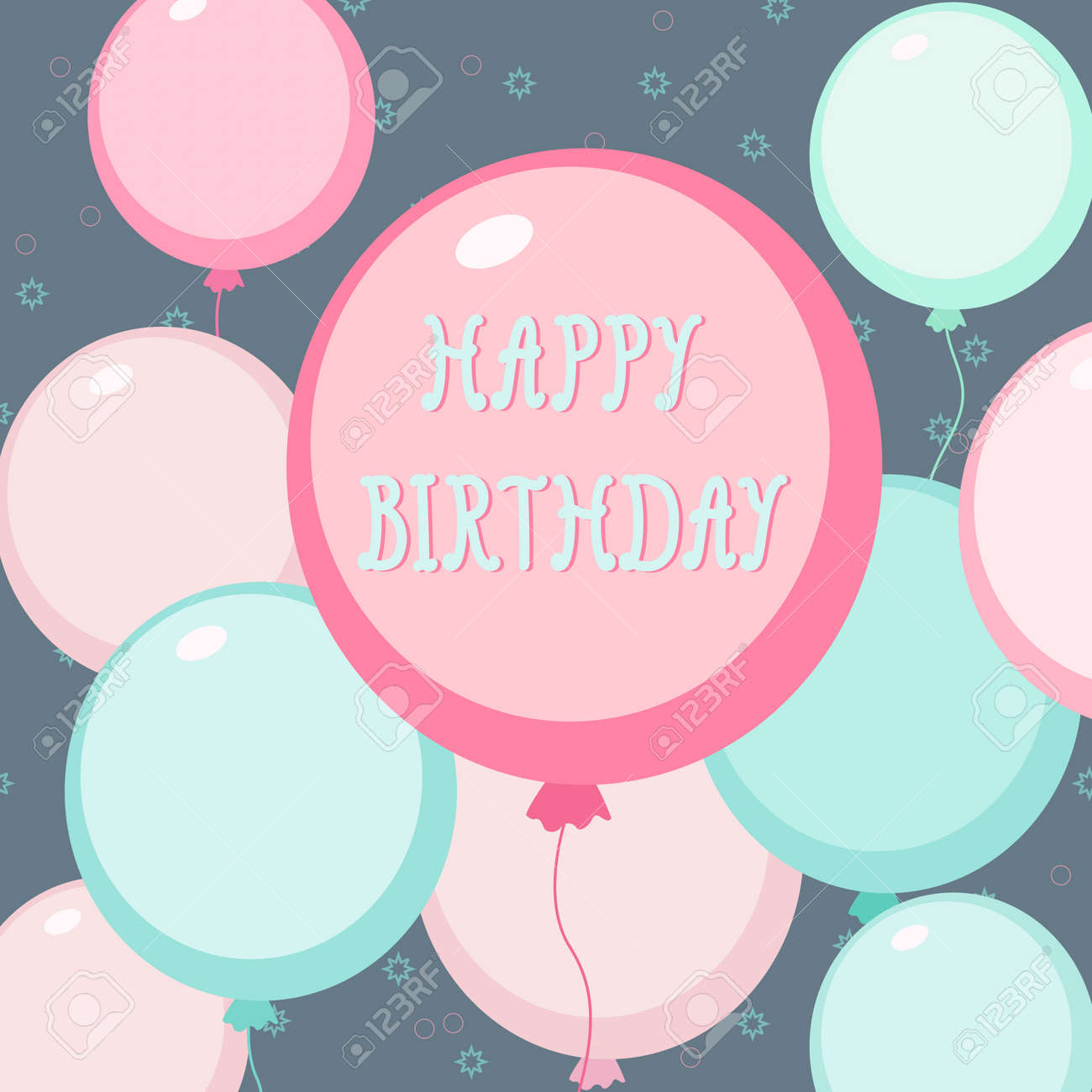 colorful birthday card template with pink and blue balloons