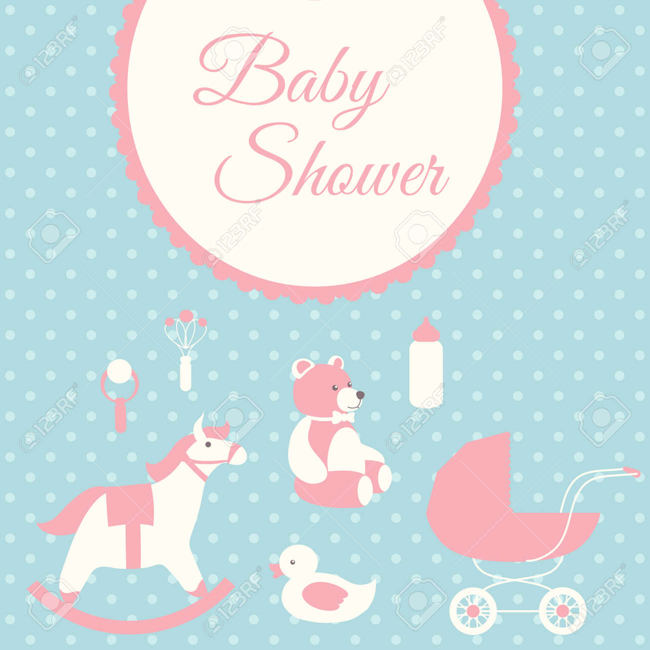 Baby Shower Invitation Card Template. Rocking Horse, Teddy Bear ...