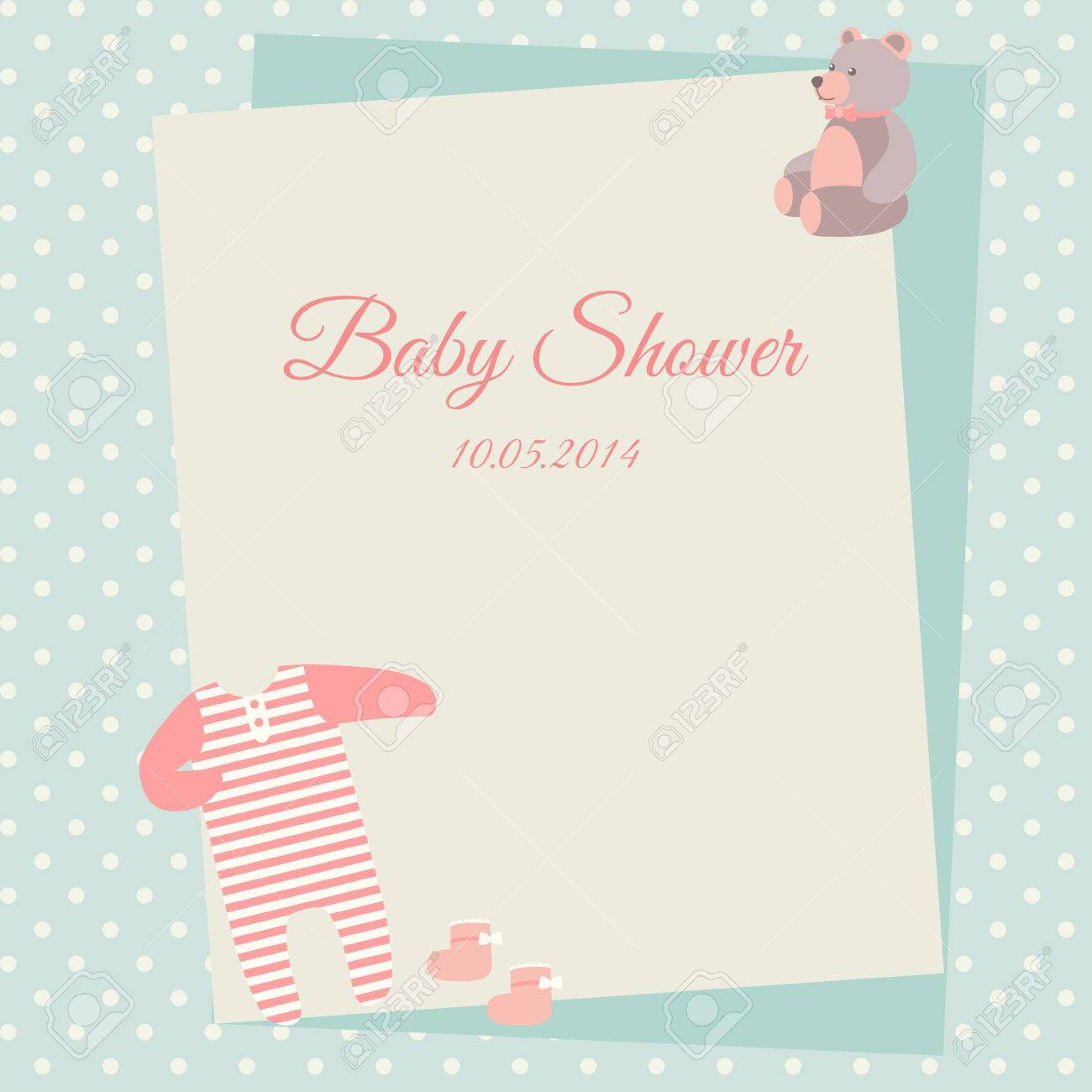 Baby Shower Invitation Card Template With Bodysuit And Teddy