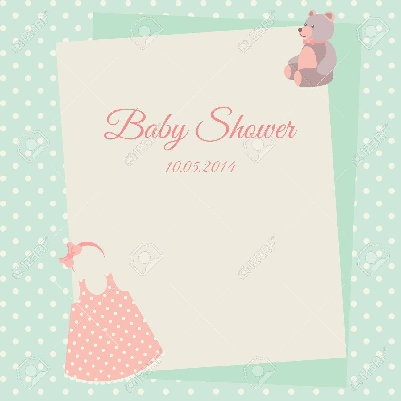 Baby Shower Invitation Card Template With Dress And Teddy Bear