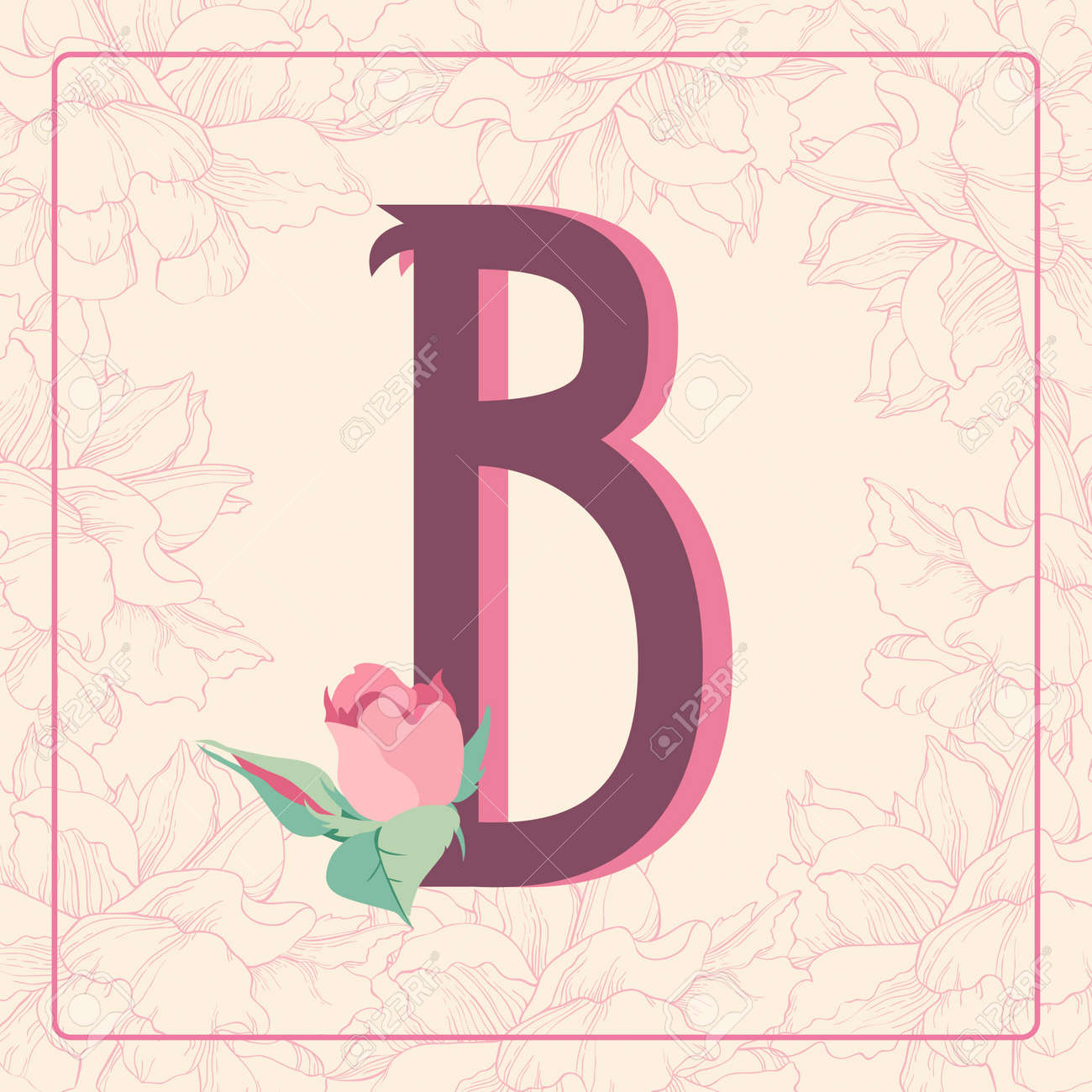 Vintage style letter b with rose flowers in floral frame