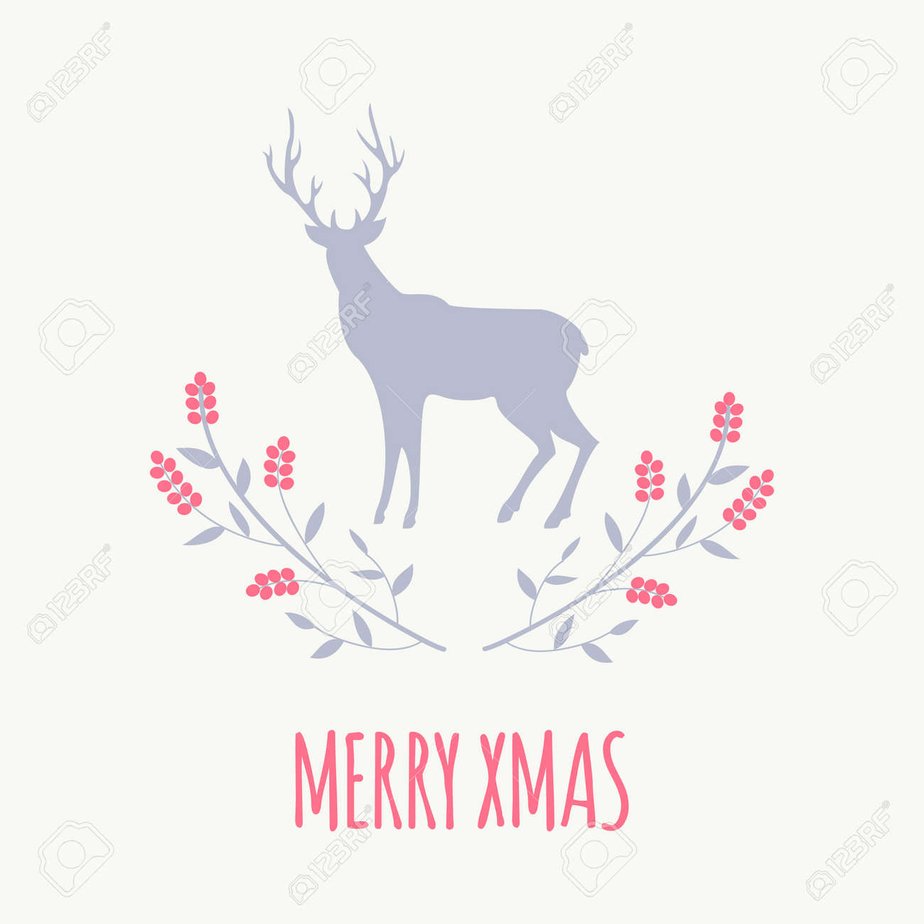 Simple Christmas Greeting Card Design With Red Berries And Deer