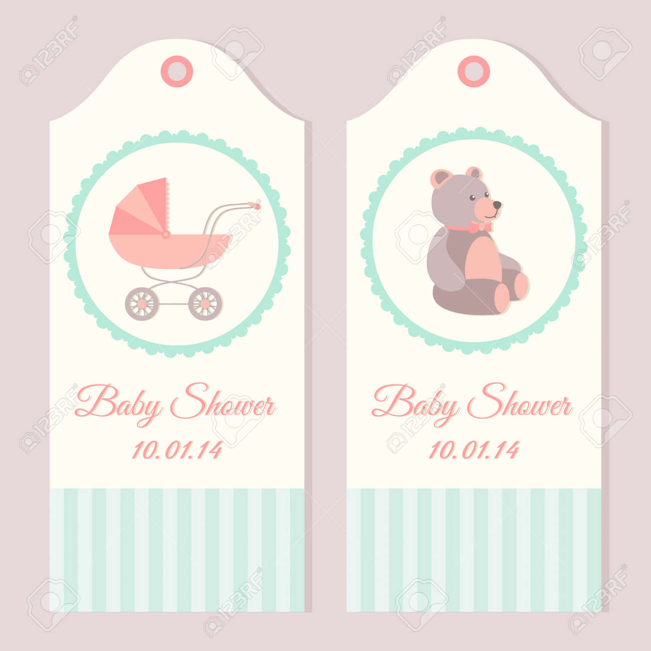 Baby Shower Invitation Card Templates With Stroller And Teddy ...