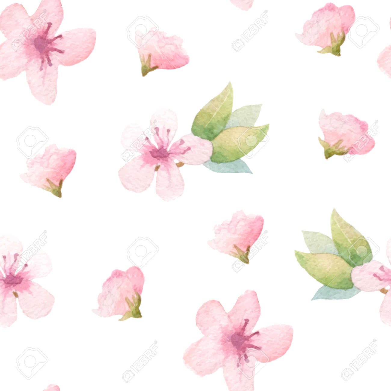Spring Floral Background With Pink Flowers Painted Apple Tree