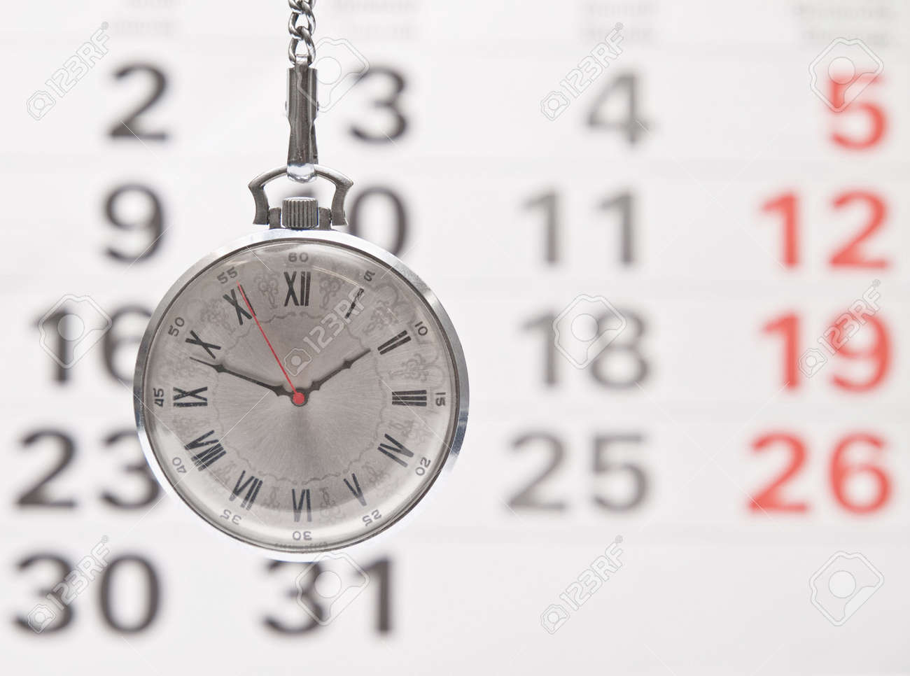 Closeup clock and calendar Stock Photo - 5503539