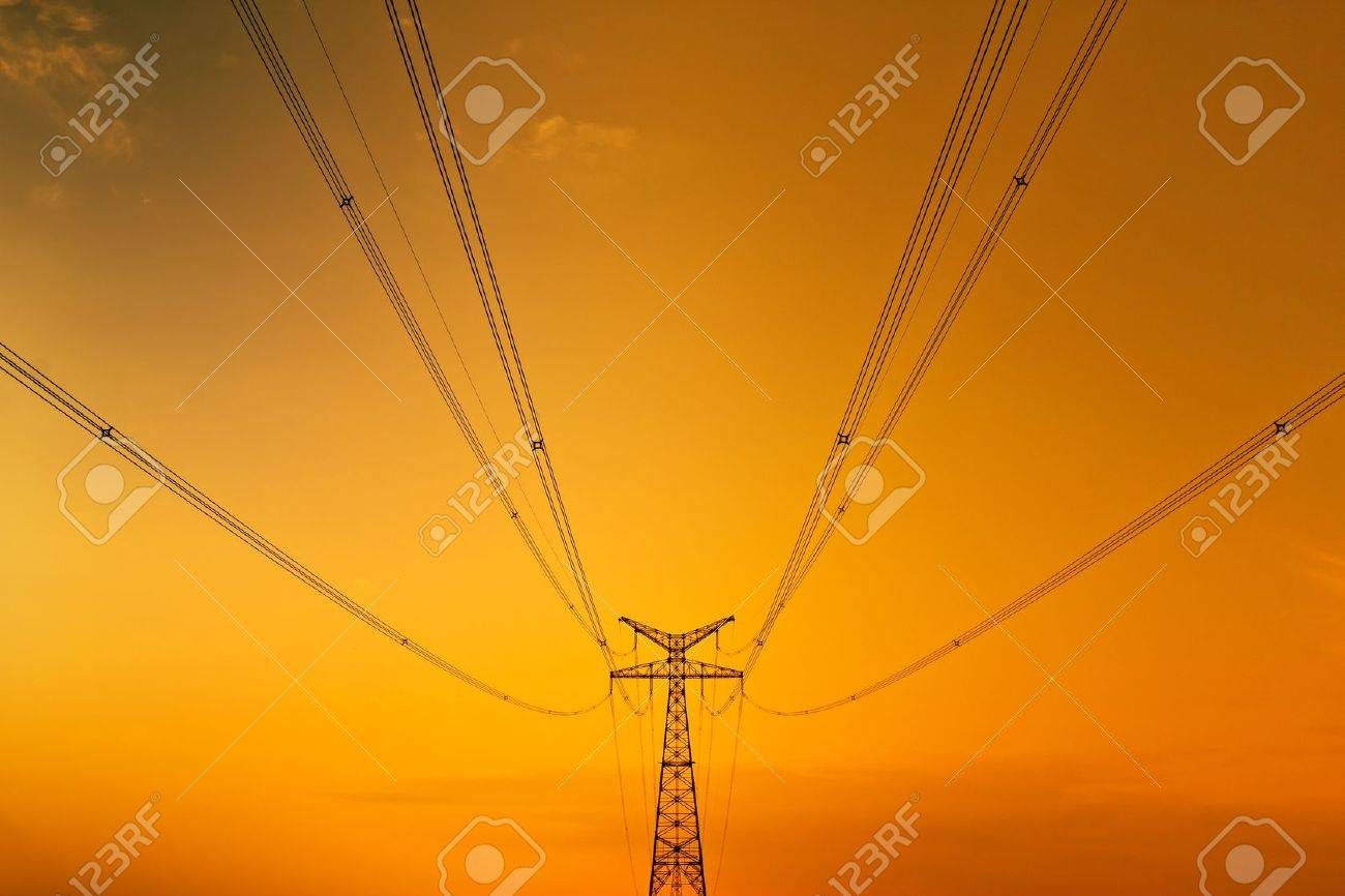 High-voltage tower sky background Stock Photo - 15098828