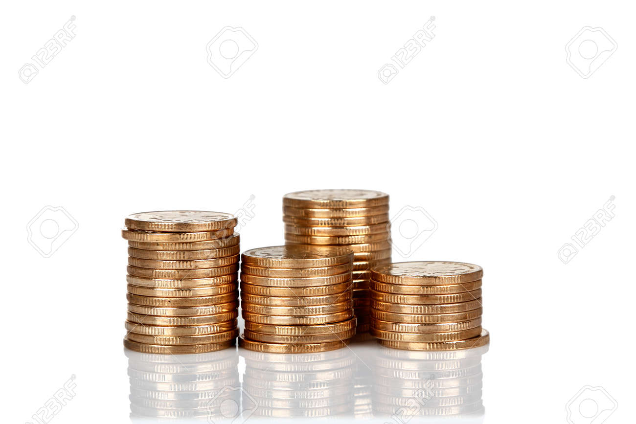Pile of RMB coins isolated on white backgrounds Stock Photo - 17938161