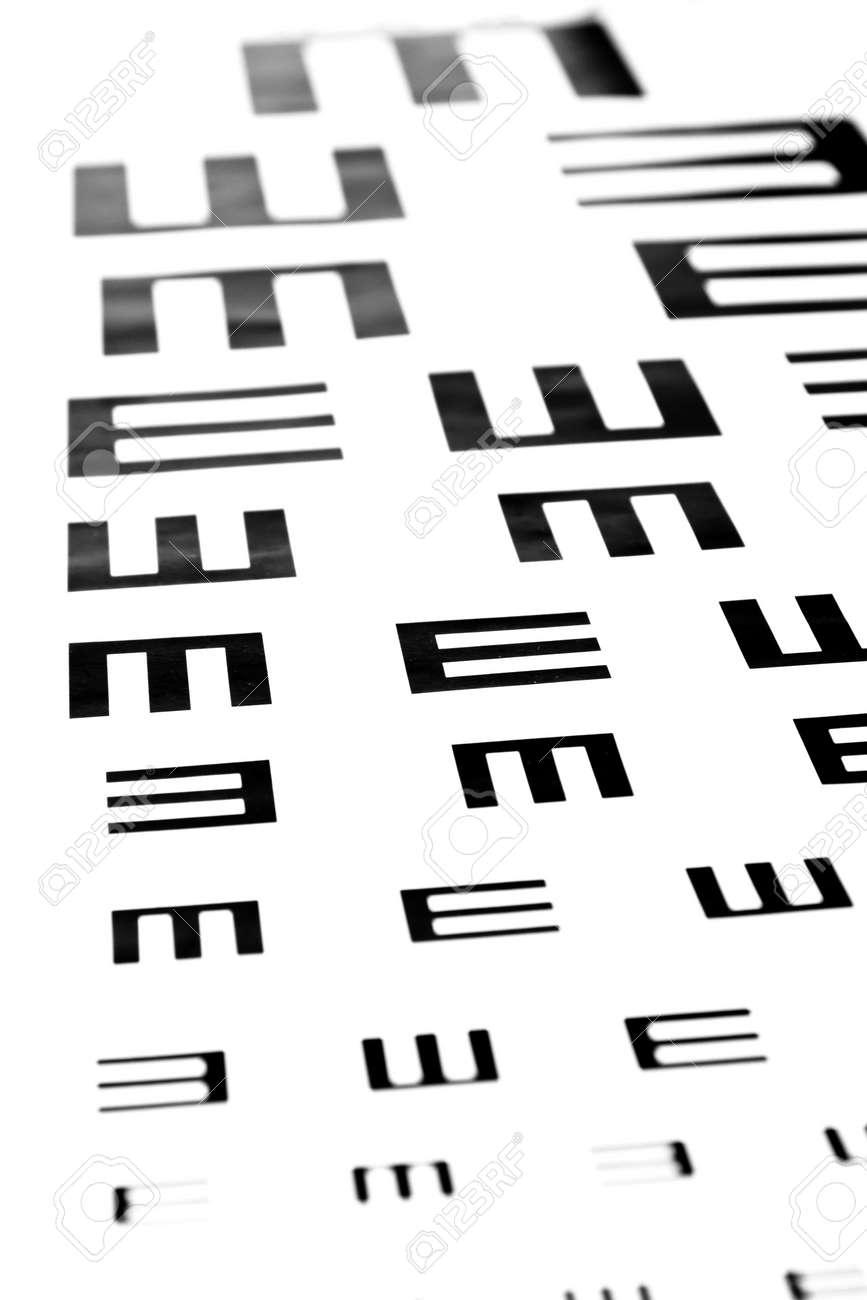 1ddb49e22ff Eyesight test chart on white background close-up Stock Photo - 19478786