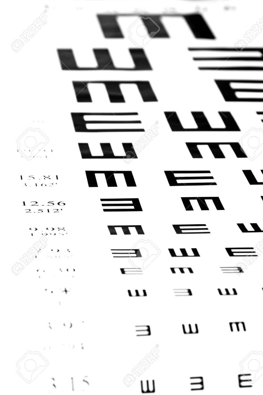 440e61e01c0 Eyesight test chart on white background close-up Stock Photo - 19478768