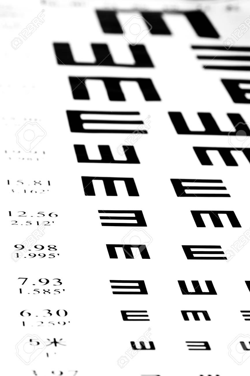 f184a8e6b9b Eyesight test chart on white background close-up Stock Photo - 19478779