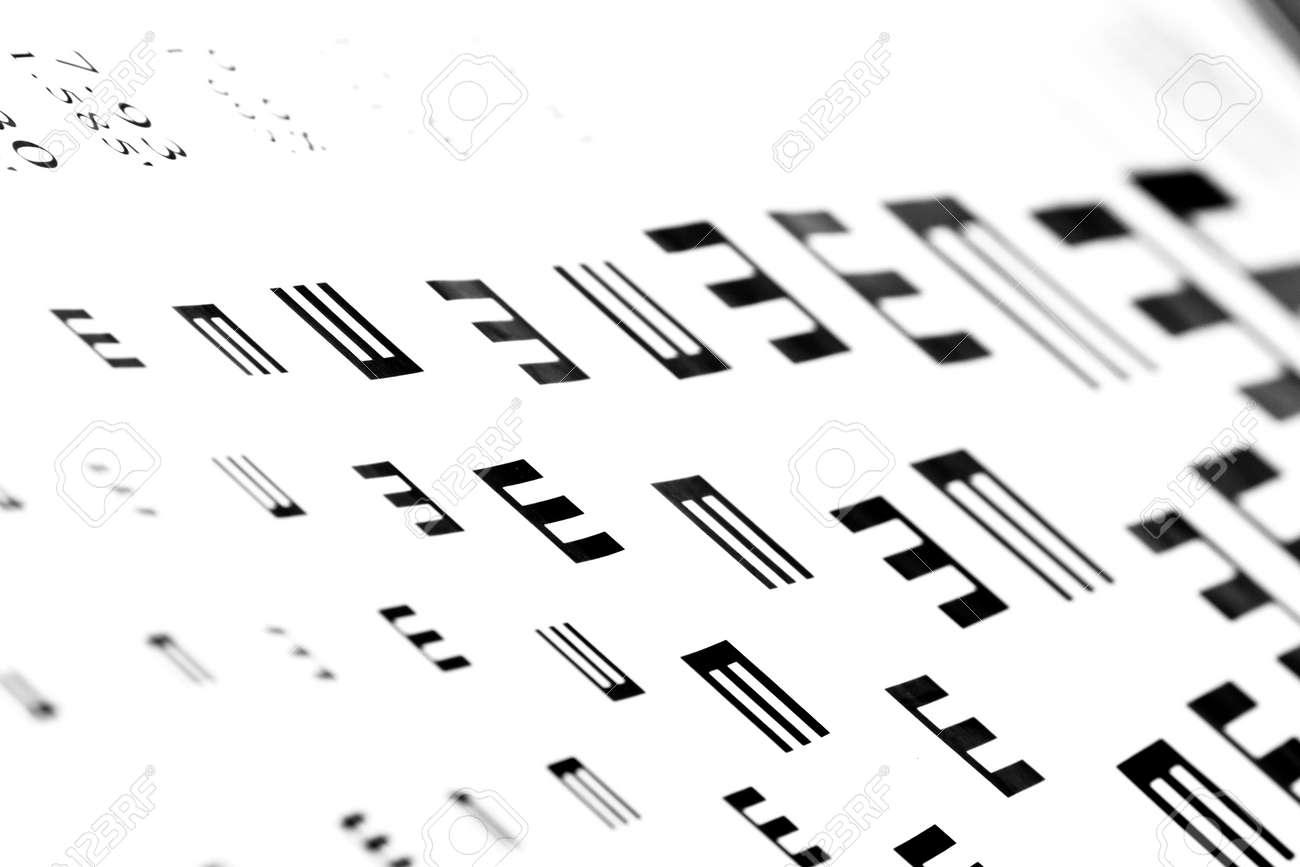 7f345eae8eb Eyesight test chart on white background close-up Stock Photo - 19478785