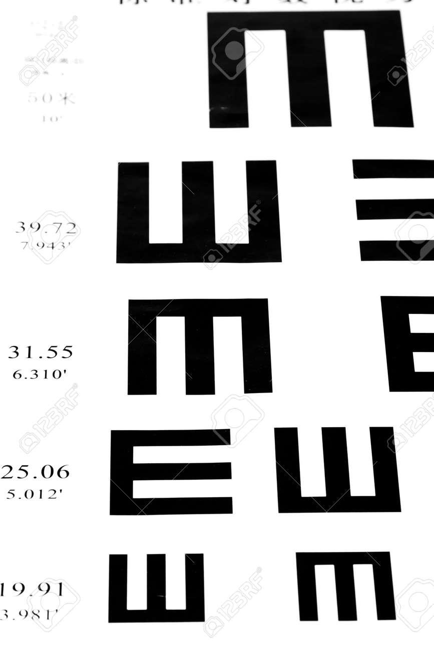 aeb1b180cf6 Eyesight test chart on white background close-up Stock Photo - 19478764