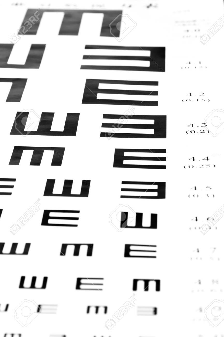255c233795d Eyesight test chart on white background close-up Stock Photo - 19478788