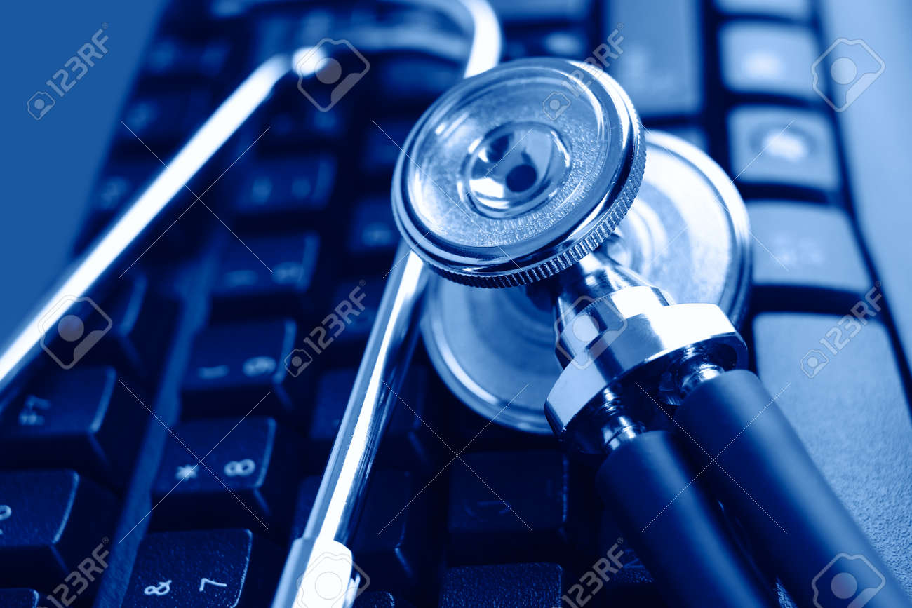 Stethoscope and keyboard illustrating concept of digital security Stock Photo - 20601817