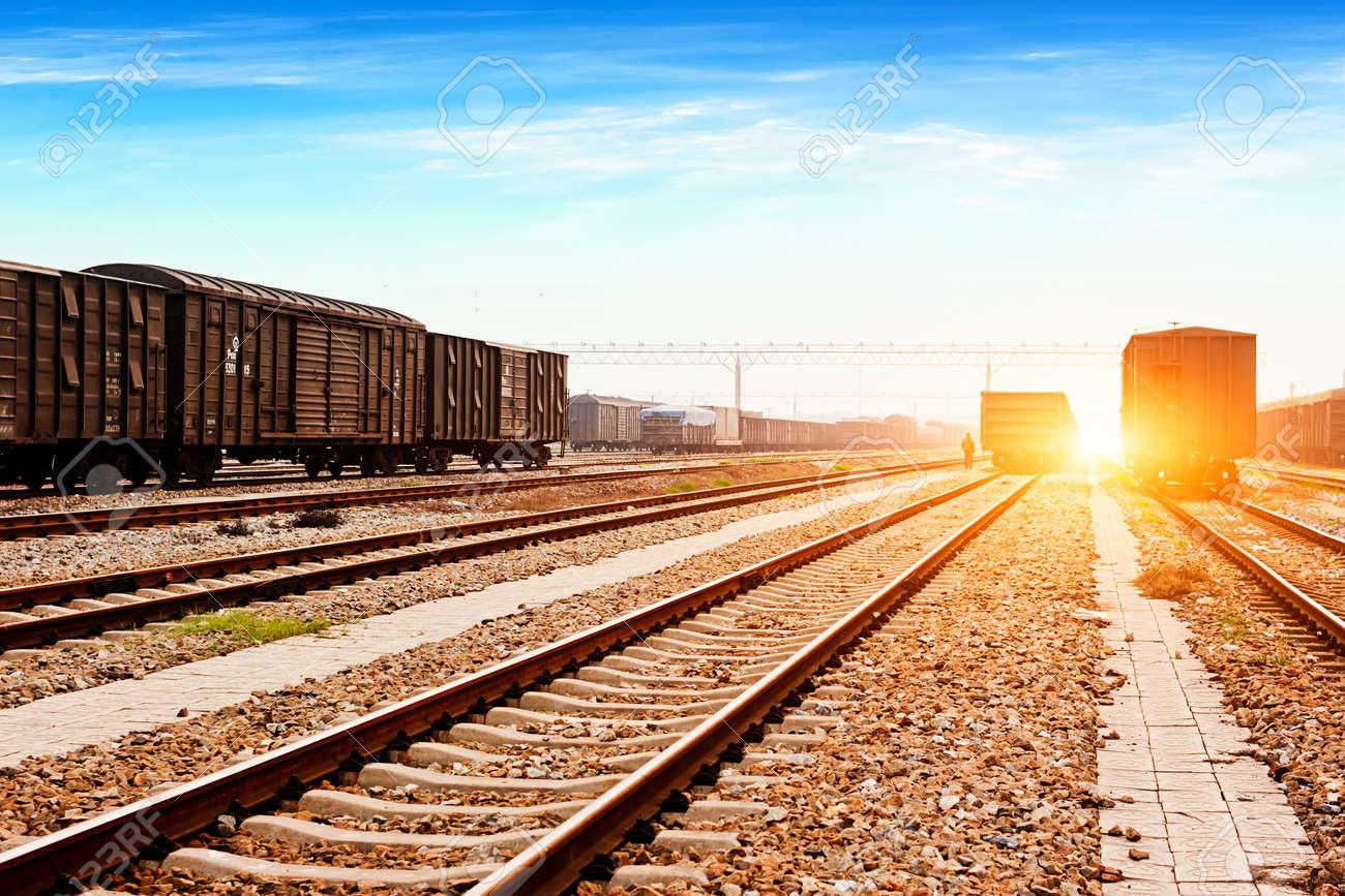 Background image rails - Rails Under The Sky Background Stock Photo 20601952