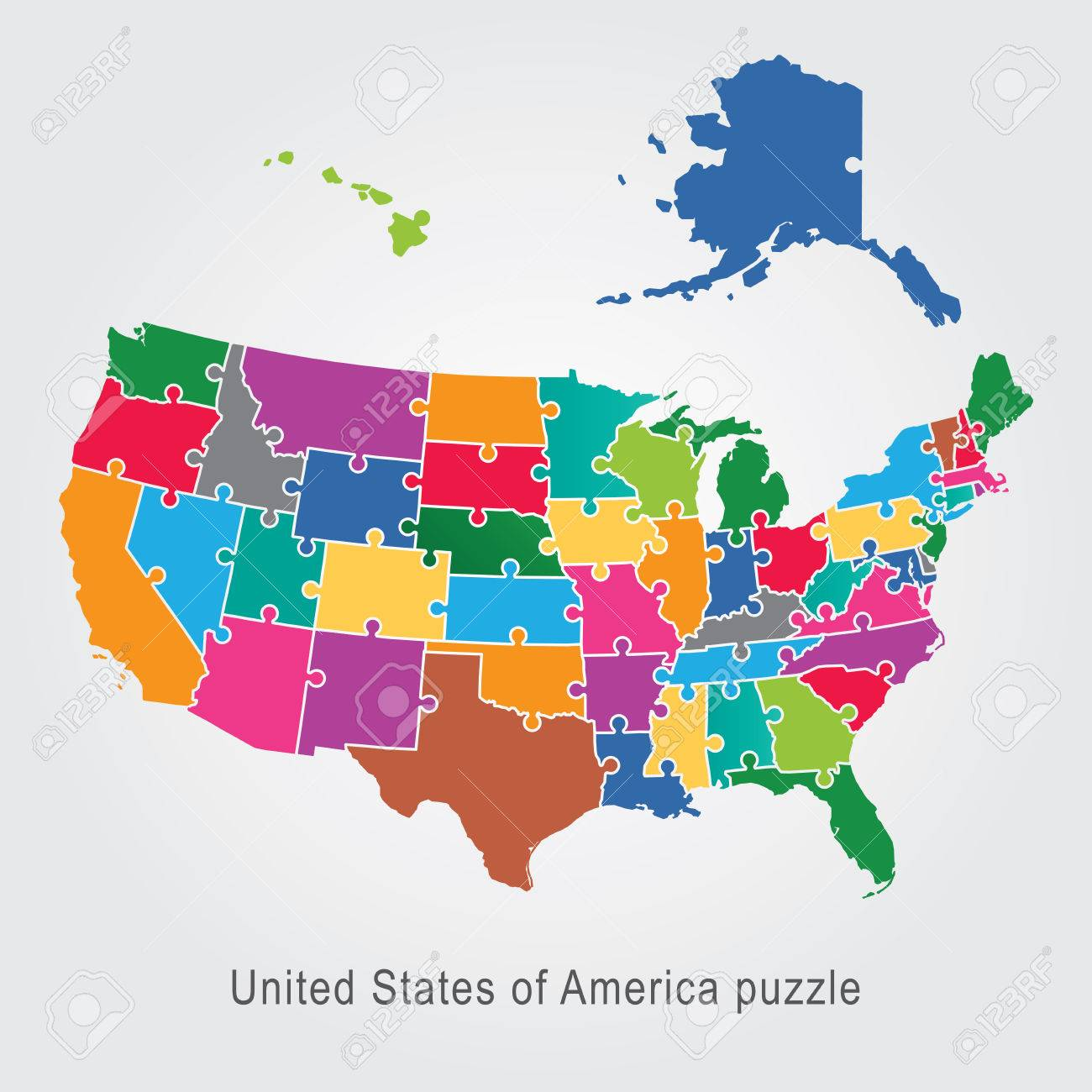 Usa Administrative Map Puzzle Royalty Free Cliparts Vectors And