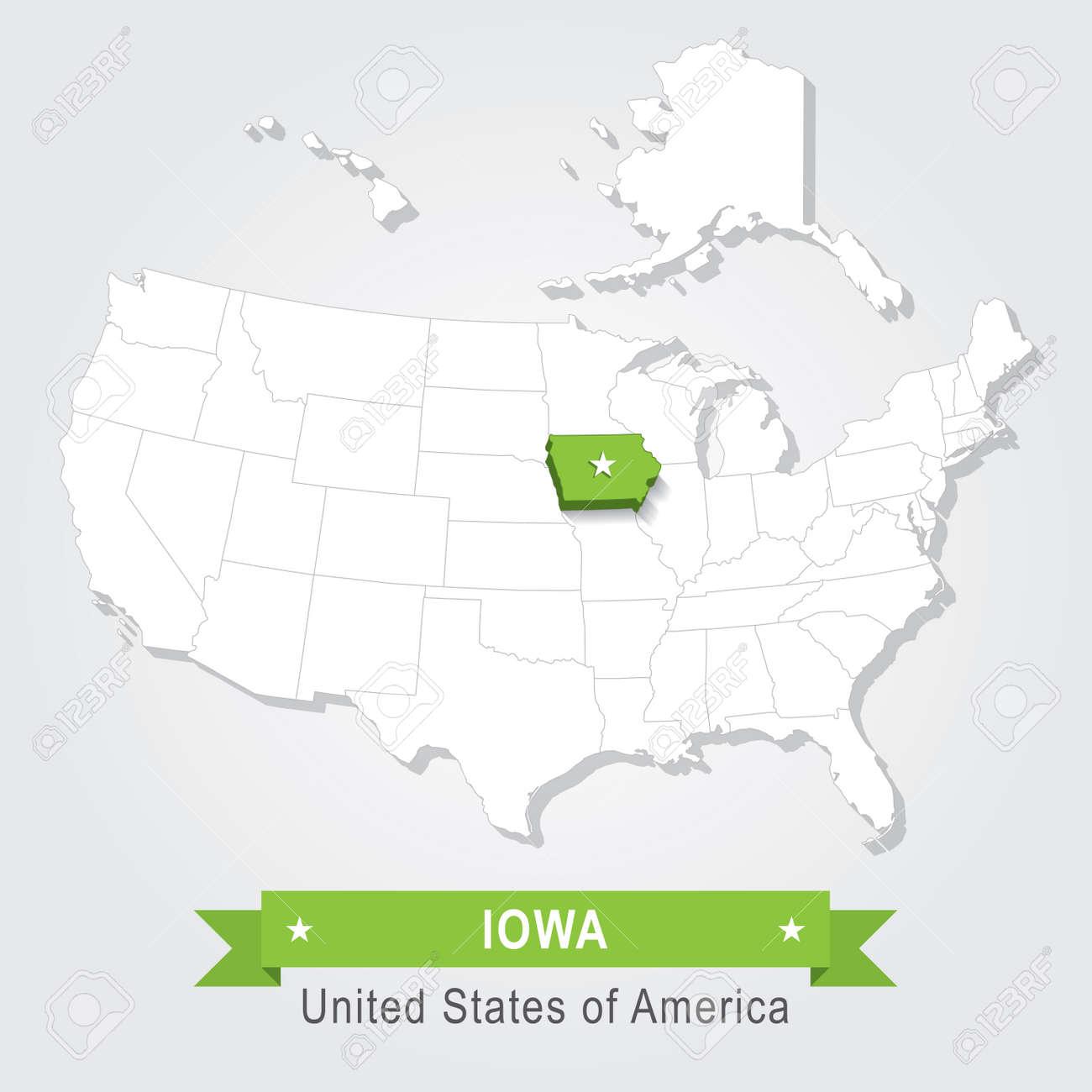Iowa state. USA administrative map.