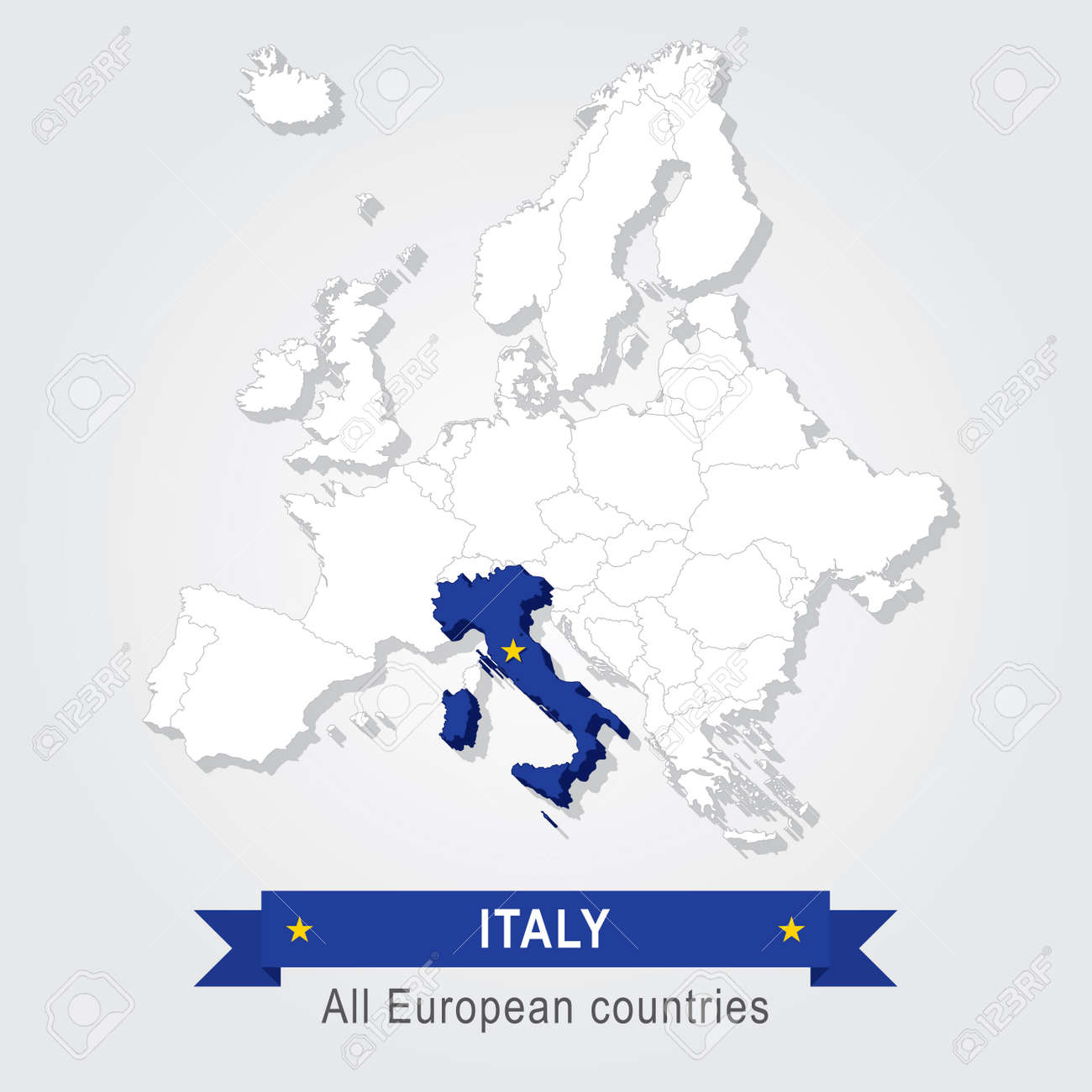 Italy Europe Administrative Map Country In Continent Royalty Free